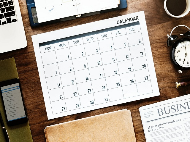 Kalender på skrivbord